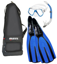 Mares WahooTRE Mask, Snorkel & Fins Set in Blue. Size Choice