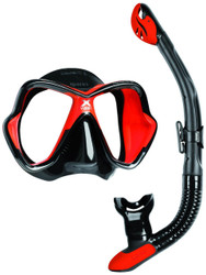 Mares X Vision Ultra Liquidskin Ergo Dry Mask & Snorkel Set. Black/Red