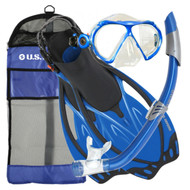 US Divers Yucatan Mask, Snorkel and Fin Set in Blue - Size Choice
