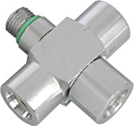 "Beaver 3/8"" UNF 90° Low Pressure Triple Hose Adaptor"