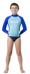 Mares Junior (Age 8 - 13) Blue Long Sleeved Rash Guard - Size choice
