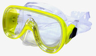 Dolphin Extra Small Fitting Single Lens Clear Silicone Mask. Yellow Frame