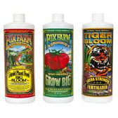 Get the awesome power of FoxFarm's® Big Bloom® Liquid Plant Food  (0.01-0.3-0.7), Grow Big® Liquid Plant Food (6-4-4) and Tiger Bloom® Liquid Plant Food (2-8-4) in one complete package. The FoxFarm® Nutrient Trio provides balanced, high-quality nutrition for plants indoors and out. Expect lush foliage, bigger and stronger blooms and tastier fruits in no time.