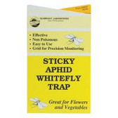 "These 4"" x 7"" Sticky Aphid/Whitefly Traps unfold to expose adhesive on both sides to cover approximately 30 sq inches per trap. Yellow coloration of weatherproof cards attracts aphids, whiteflies, leafhoppers, froghoppers, moths and more. Nontoxic traps are simple to hang and mess free. Pack of 5 traps."