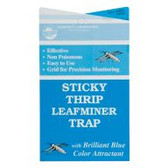 "These 4"" x 7"" Sticky Thrip/Leafminer Traps unfold to expose adhesive on both sides to cover approximately 30 square inches per trap. Unique blue coloration of weatherproof cards attracts both thrips and leafminers. Pack of 30 traps."