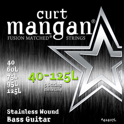 """40-125L Stainless Wound Light 5-String Extra Long 35"""" Scale"""