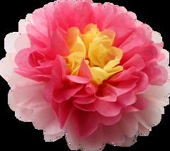 """Flower pom pom, fuschia, yellow & pink, 10"""""""