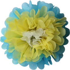 Flower pom pom, yellow, aqua & white, 8""