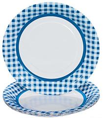 Gingham Dinner Plates, Blue