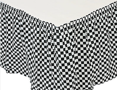 Black and White Checkered Pleated Tablecloth