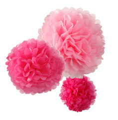 Pom Poms, Passionately Pink, Mixed Sizes