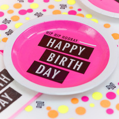 Neon Birthday Plates, Large