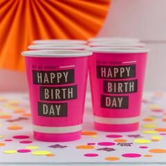 Neon Birthday Beverage Cups