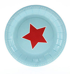 Blue and Red Star Dessert Plates
