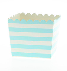 Scallop Favor / Treat Box, Blue Stripes
