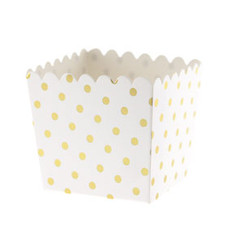 Scallop Favor / Treat Box, Gold Polka Dots