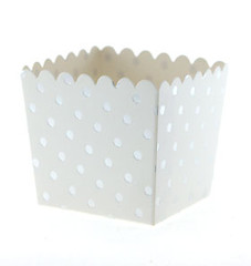 Scallop Favor / Treat Box, Silver Polka Dots