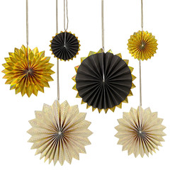 Paper Pinwheels, Gold and Black