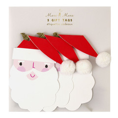 Gift Tag, Santa with Pom Pom Hat