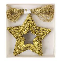 Chunky Gold Glitter Stars Mini Garland