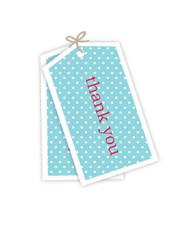 Thank you tag, blue & white polka dots