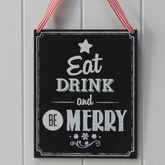 Wooden Chalkboard Eat, Drink, & Be Merry Sign