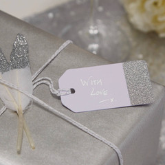 Gift Tags, Silver with White