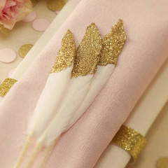 Glitter Dipped Feathers, Gold