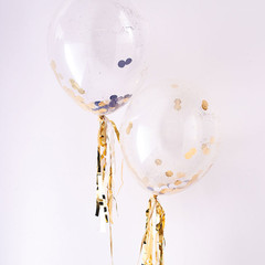 Balloons, Black and Gold Confetti Kit