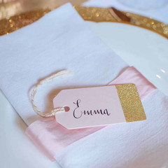 Gift Tags, Pink with Gold
