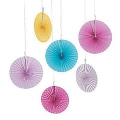 Forever Flamingos Paper Pinwheel Hanging Fans