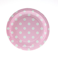 Polka Dot Plates, White with Pink Dessert Size