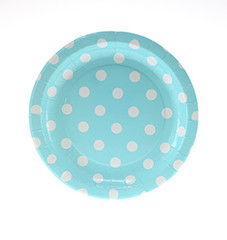 Polka Dot Plates, Light Blue with White Dessert Size