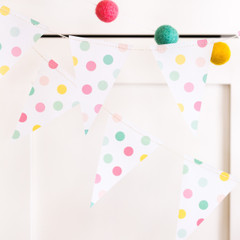 Hooray Polka Dot Vellum Mini Pennant Banner
