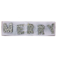 Mini Silver Merry Christmas Garland