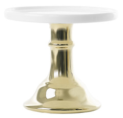 Miss Etoile Ceramic Cake Stand, White & Gold, Large