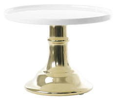 Miss Etoile Ceramic Cake Stand, White & Gold, Small