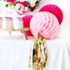 Honeycomb Ball, Pink w/ Tassel