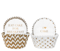 Cupcake Liners, White & Gold