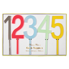 Multicolored Number Cake Toppers