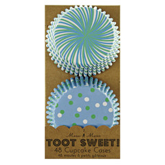 Toot Sweet Blue Patterned Cupcake Liners