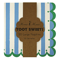 Toot Sweet Blue Striped Party Napkins, Large