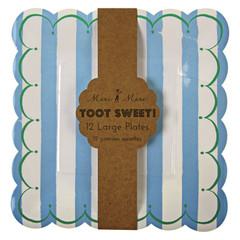 Toot Sweet Large Blue Stripe Plates
