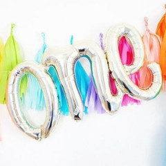 "Gold Foil Script Balloon ""One"""
