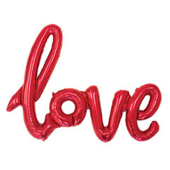 "Red Foil Script Balloon ""Love"""