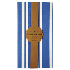 Toot Sweet Blue Stripe Paper Tablecloth