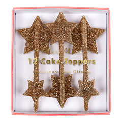 Gold Glitter Star Toppers
