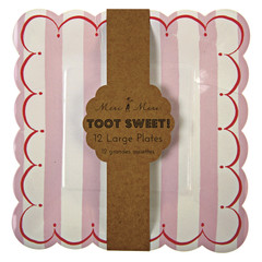 Toot Sweet Pink Stripe Plates, Large