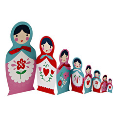 Greeting Card: Russian Dolls Birthday Card