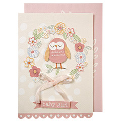 Greeting Card, Floral with Owl, Baby Girl
